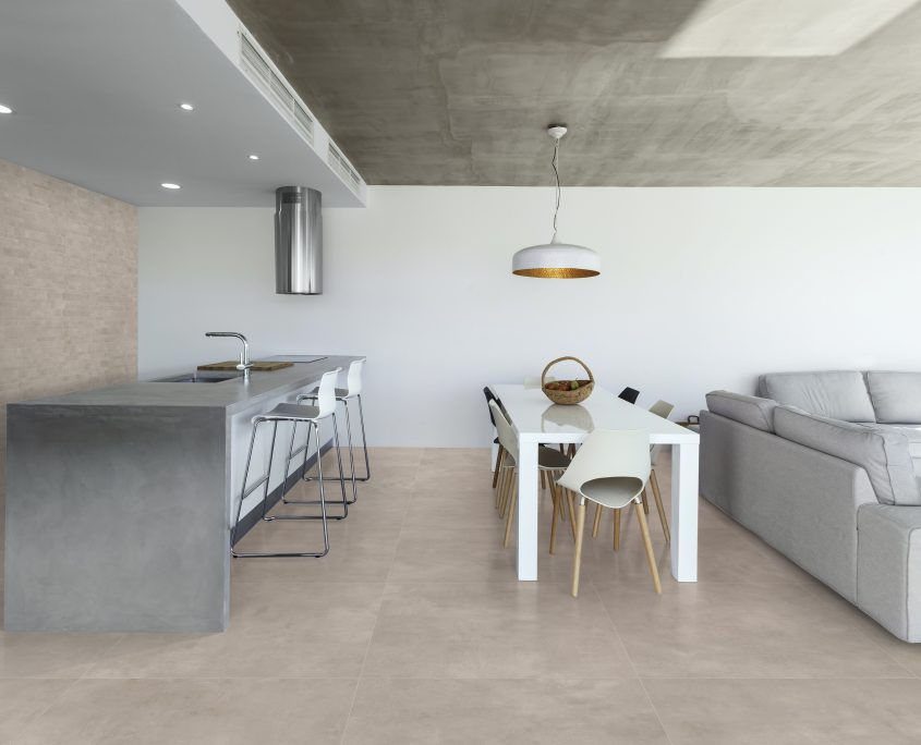 Magica - Industry - modern kitchen with gray tile floor and white wall